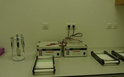 Horizontálna elektroforéza so zdrojom napätia pre elektroforézu